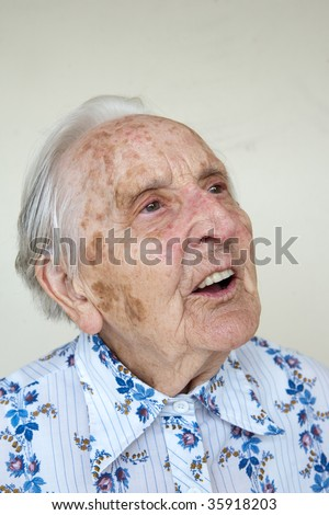 beautiful over 90 years very old german woman, talking - stock photo