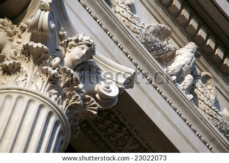 Beautiful overhead part of large marble column
