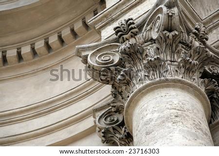 Beautiful overhead part of large marble column - stock photo