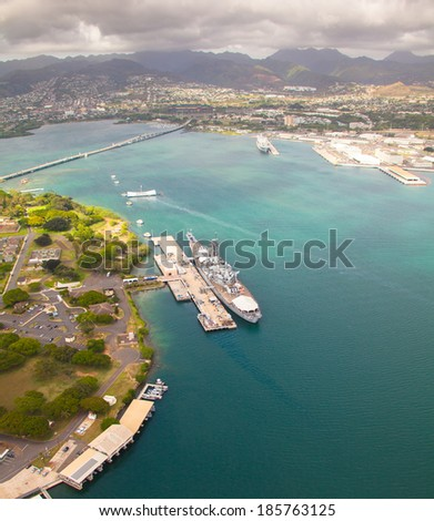Beautiful overview of Pearl Harbor - stock photo