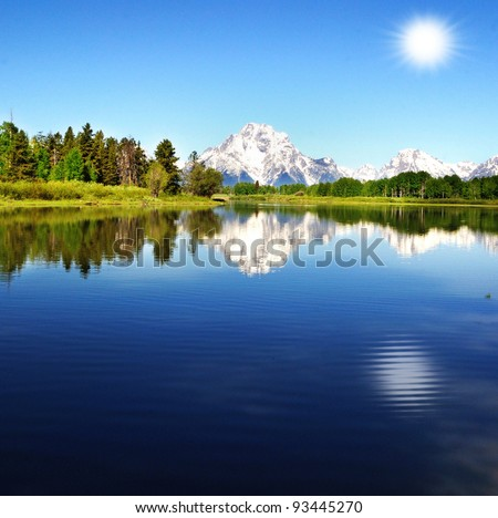 Beautiful Oxbow bend with background sun - stock photo