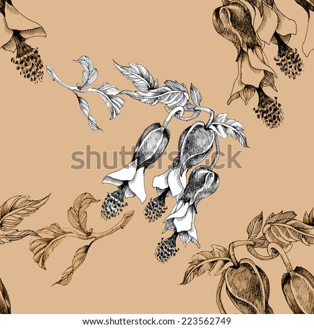 Beautiful painted flower seamless pattern on beige background