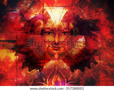Beautiful Painting Goddess Woman with bird phoenix on your face with ornamental mandala and butterfly wings and color abstract background  and eye contact