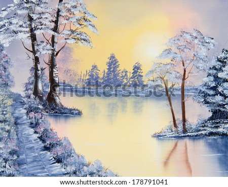 Beautiful painting of a lake and trees on a chilly Winters morning - stock photo