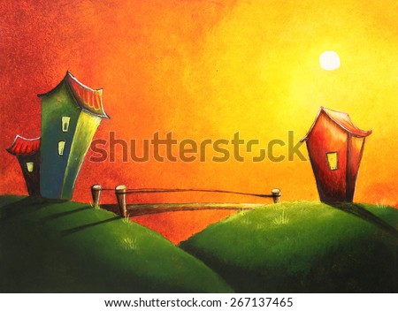 Beautiful painting of a sunset or sunrise