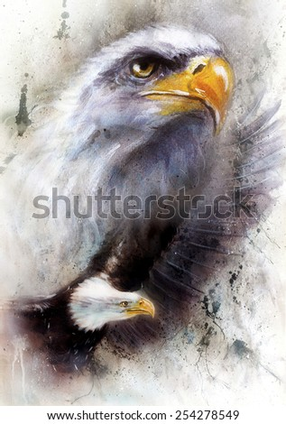 beautiful painting of a two  eagles, on an abstract textured background - stock photo