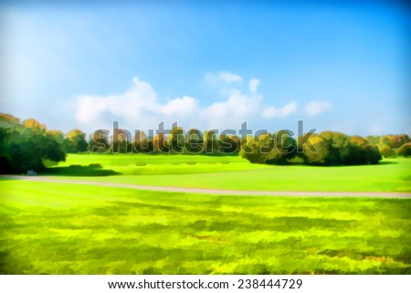 Beautiful painting of fields and meadows - stock photo