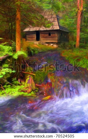 Beautiful painting showing forest, mountain stream and wooden cottage hidden in the trees.