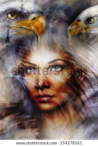 beautiful painting Woman  with a flying eagle beautiful painting illustration collage