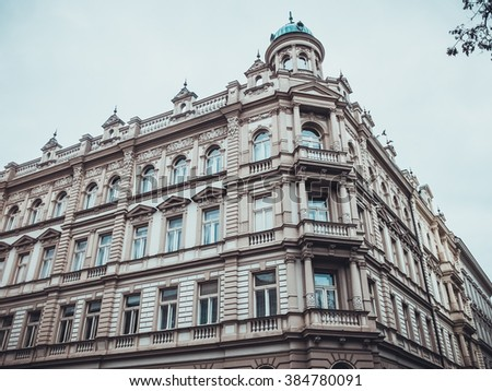 beautiful palace building at prague with white facade