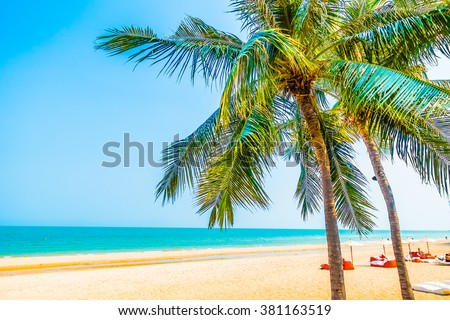 Beautiful palm tree on the beach and sea landscape background - boost up color processing