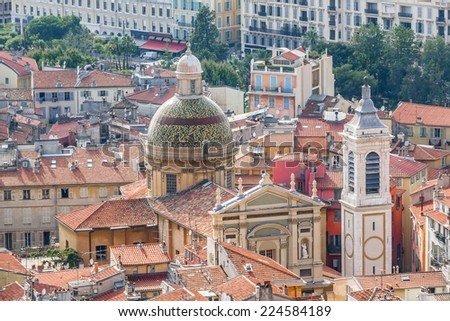 Beautiful panorama city of Nice - luxury resort of French Riviera. Cote d'Azur France.  - stock photo