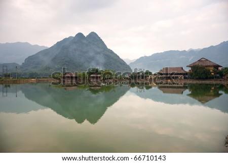 Beautiful panorama in Mai Chau Valley, North Vietnam. - stock photo