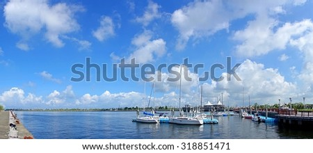 Beautiful panorama of a small yacht harbor in southern Taiwan  - stock photo
