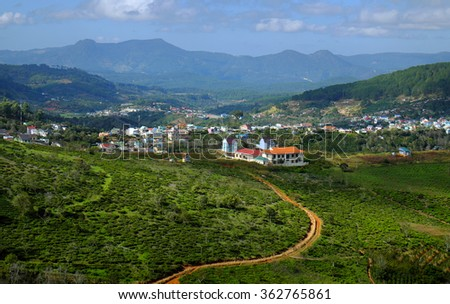 Beautiful panorama of Dalat countryside, Viet Nam, a agriculture residence with undulating terrain among hill and mountain make amazing scene of Da Lat rural, a place for Vietnam travel