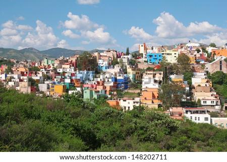 beautiful panorama of Guanajuato in Mexico - stock photo