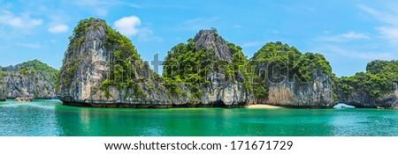 Beautiful panorama of Halong Bay, Vietnam, Southeast Asia - stock photo