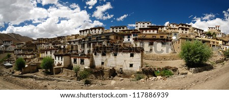 Beautiful panorama of Kibber village in Himachal Pradesh, India. It is the highest village in Asia. - stock photo