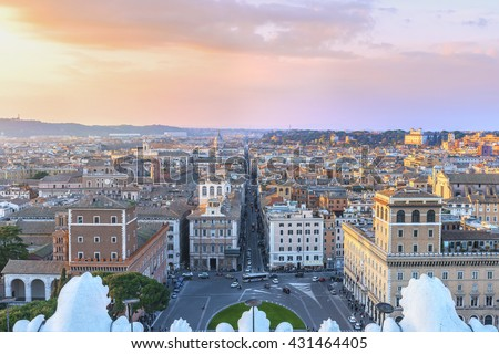 Beautiful panorama of the city of Rome in the last rays of sunset. Aerial view from Altar of the Fatherland ( Altare della Patria).Il Vittoriano.Piazza Venezia.  Rome. Italy. Europe. - stock photo