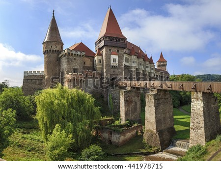 Beautiful panorama of the Corvin castle Transylvania,Romania