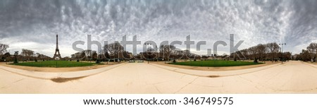 Beautiful 360 panorama of the Eiffel tower on a cloudy winter day in Paris  - stock photo