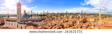 Beautiful panorama of the historic city of Siena. Tuscany, Italy - stock photo