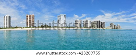Beautiful panorama of the Singer Island, Florida skyline and Atlantic Ocean in the West Palm Beach area of South Florida. - stock photo