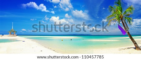 beautiful panorama of tropical beach - stock photo
