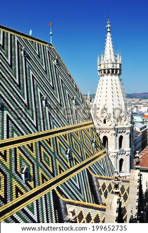 Beautiful panorama of Vienna seen from the roof of St. Stephen's Cathedral (Stephansdom) - stock photo