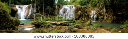 Beautiful panorama of waterfalls in deep forest ,Thailand. - stock photo