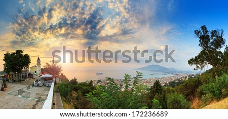 Beautiful panorama taken in the early morning looking over the city of Zakynthos, Greece.  - stock photo