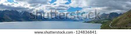Beautiful Panorama view lake Wakatipu, Queenstown, New Zealand - stock photo