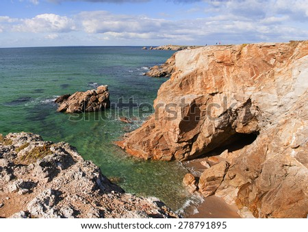 Beautiful panorama view of rocky coastline stretching into the Atlantic ocean on the northwestern coast of France Brittany
