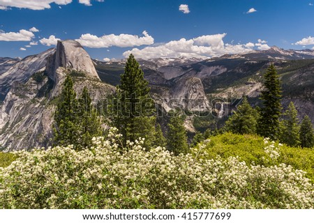 Beautiful panorama view of Yosemite Valley and Half Dome. - stock photo