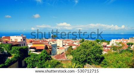 Beautiful panoramic aerial view of La Orotava town. Historical center landmarks and architecture of La Orotava. Tenerife, Canary islands, Spain.