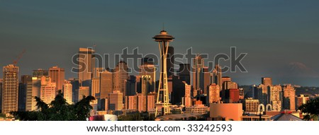 Beautiful panoramic image of Seattle skyline with Mt. Rainier in the background - stock photo