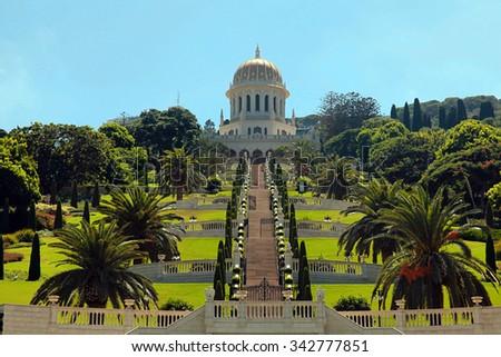 Beautiful panoramic landscape with Bahai Gardens in Haifa, Israel. - stock photo