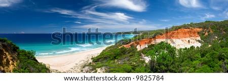 Beautiful Panoramic Photo of Long Beach, Australia - stock photo