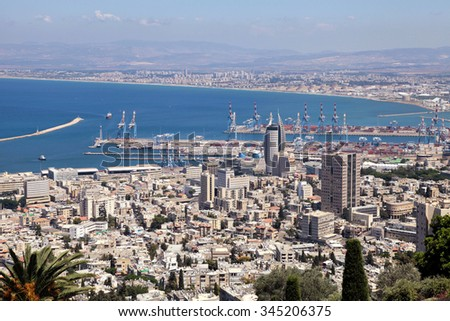 Beautiful panoramic view from Mount Carmel to cityscape and port in Haifa, Israel. - stock photo
