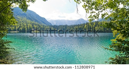 beautiful panoramic view of fusine mountain lake, italy - stock photo