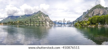 Beautiful panoramic view of Lake Como and Lecco city, Lombardy province, Italy