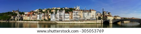 Beautiful panoramic view of Lyon from river coast, France - stock photo