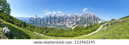 beautiful panoramic view of mountain path - stock photo