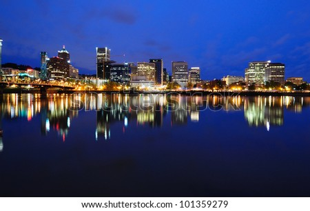 Beautiful Panoramic View of Portland - stock photo