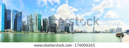 Beautiful panoramic view of Singapore business center on sunny day - stock photo