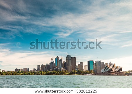 Beautiful panoramic view of Sydney city skyline from the sea - stock photo