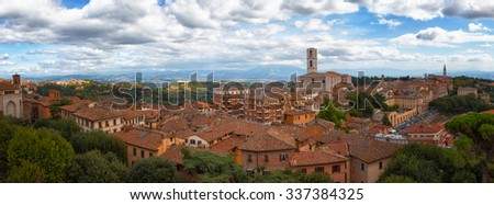 Beautiful panoramic  view of the ancient city of Perugia. Umbria, Italy