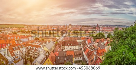 Beautiful panoramic view of the historic city of Wurzburg in idyllic golden evening light at sunset in summer, region of Franconia, Northern Bavaria, Germany - stock photo