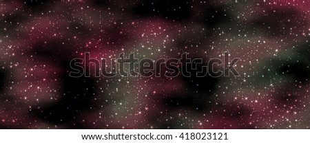 Beautiful panoramic view of the night sky with stars, abstract background, digital illustration art work.