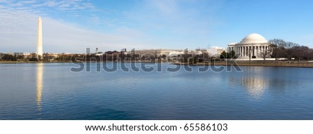 Beautiful Panoramic view of the Washington DC skyline showing the Washington Monument and the Jefferson Memorial. - stock photo